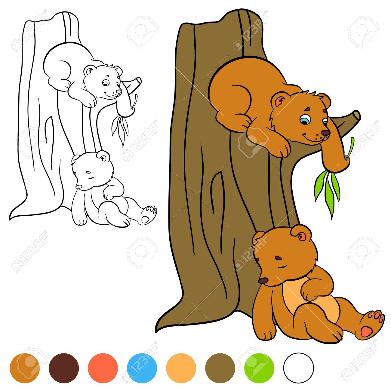 Malvorlage Color Me Bär Zwei Kleine Süße Baby Bären Lizenzfrei
