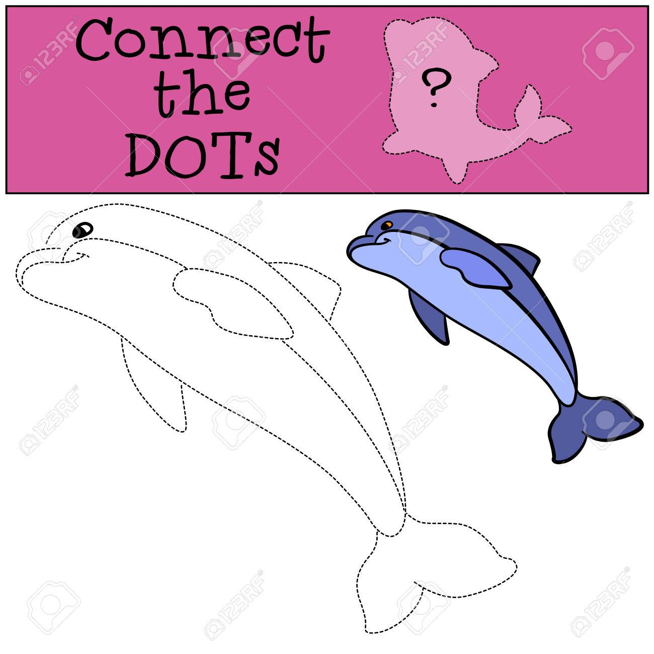 educational games for kids connect the dots little cute dolphin