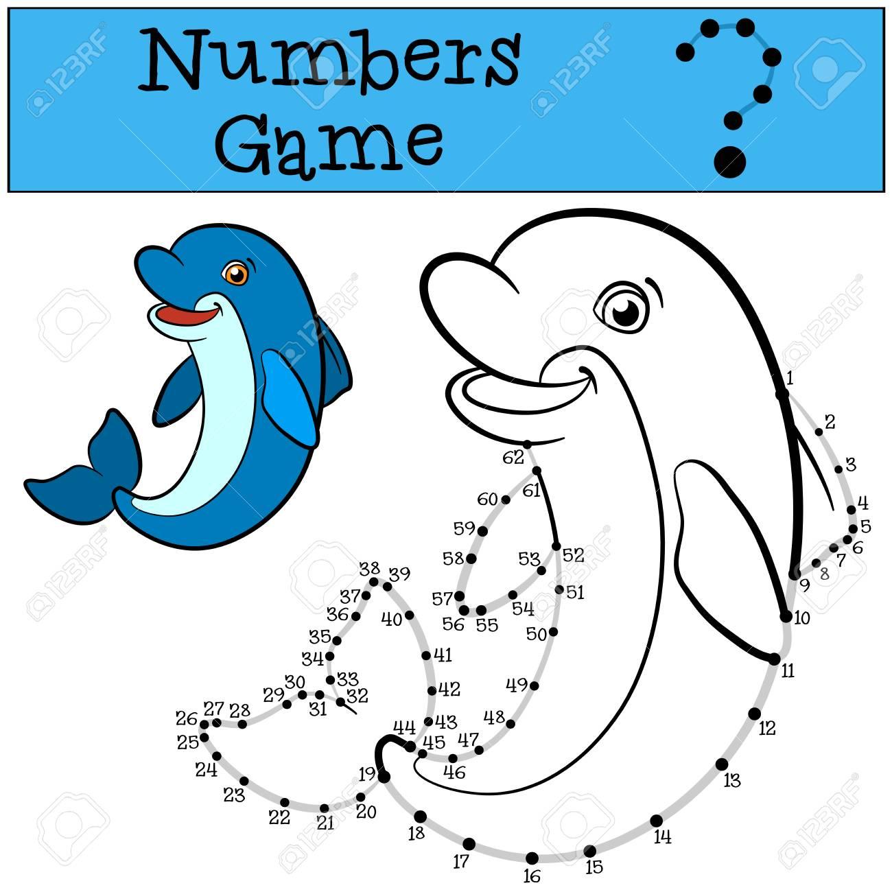 Lernspiele Für Kinder: Zahlen-Spiel Mit Kontur. Kleiner Netter ...