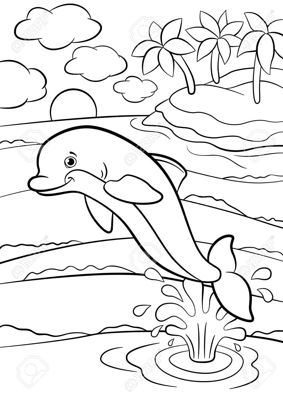 Malvorlagen. Marine-wilde Tiere. Kleiner Netter Delphin Springt Aus ...