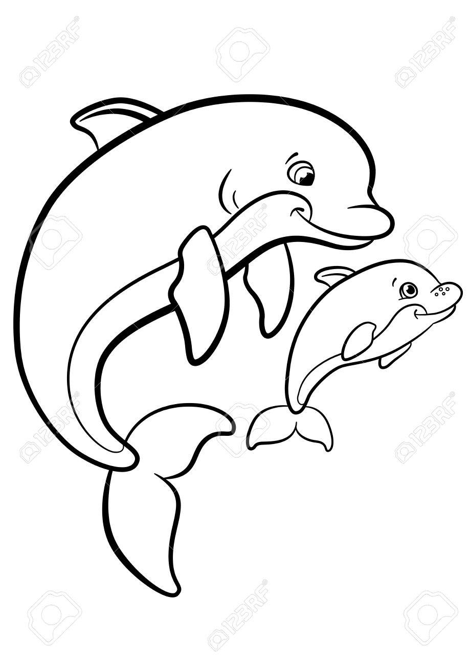 Coloring Pages. Marine Wild Animals. Mother Dolphin Swims With ...