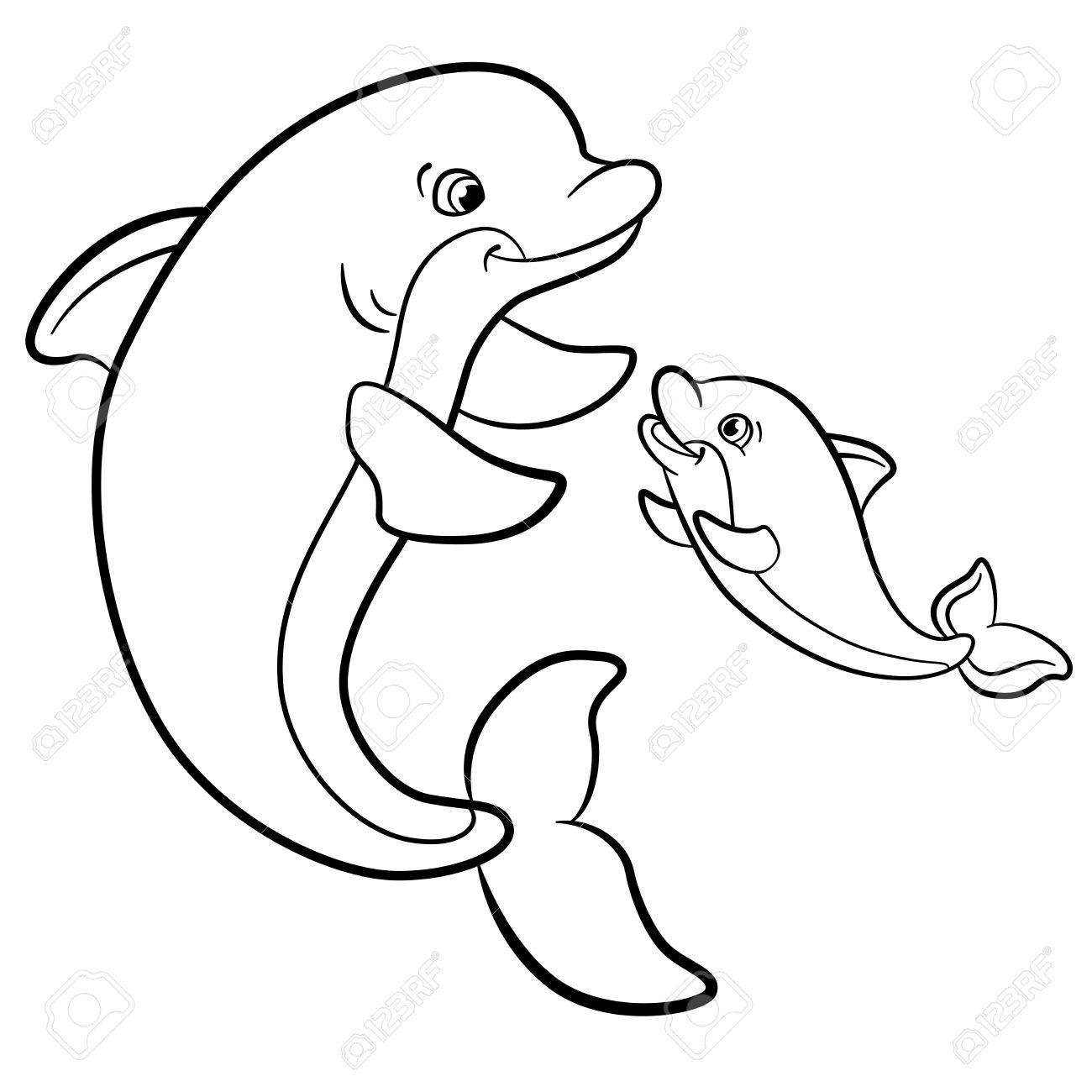 Malvorlagen. Marine-wilde Tiere. Mutter Delphin schwimmt mit ihrem kleinen  niedlichen Baby-Delphin.