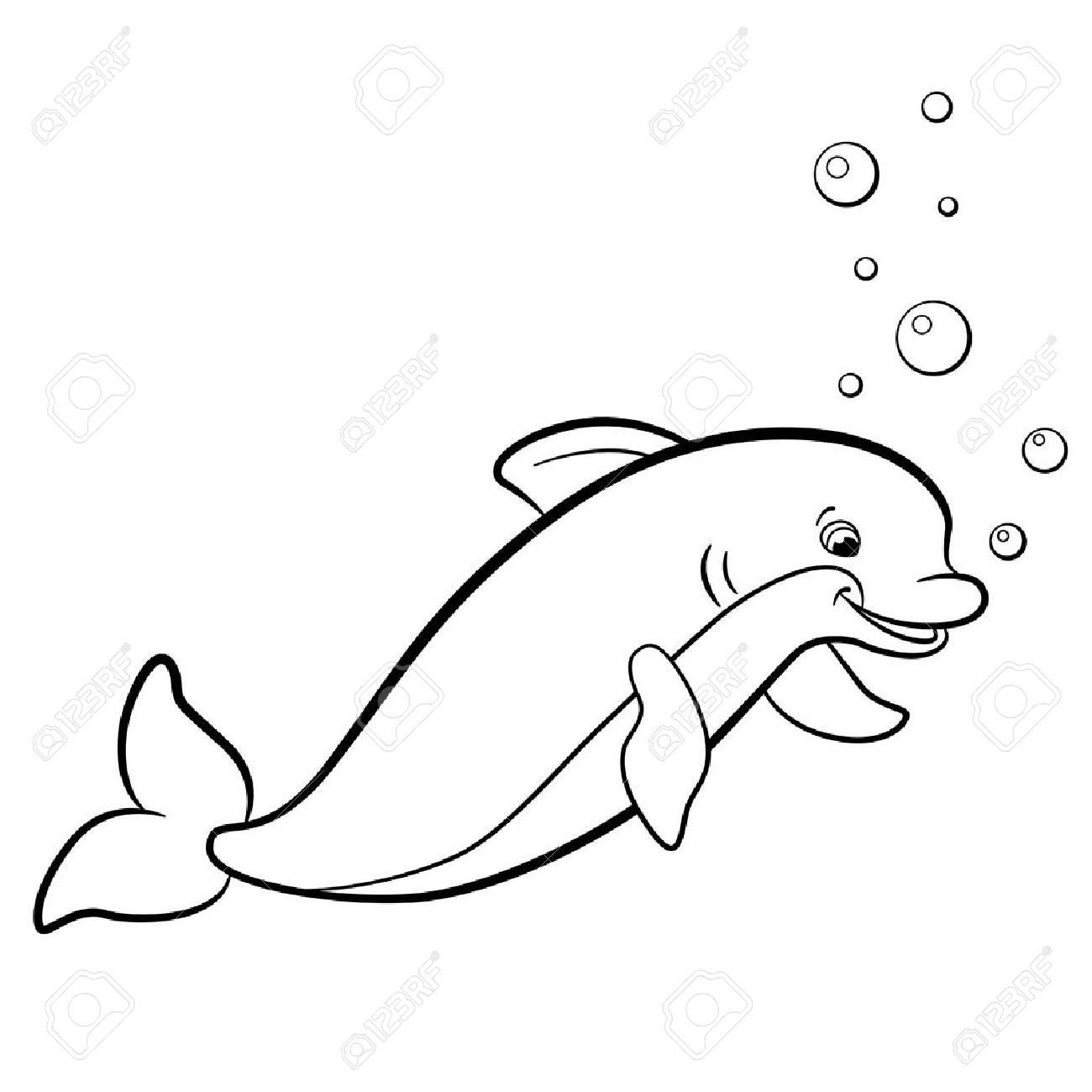 Malvorlagen. Marine-wilde Tiere. Netter Delphin lächelt.