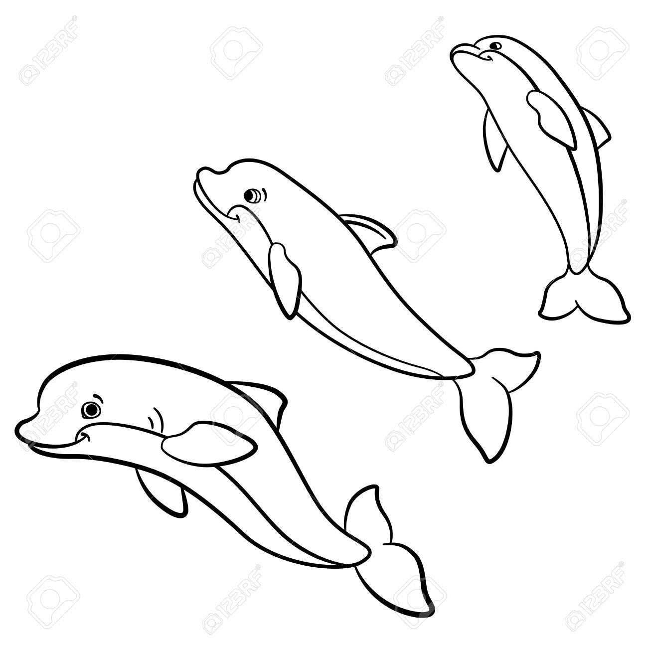 Páginas Para Colorear. Animales Salvajes Marinos. Tres Delfines ...