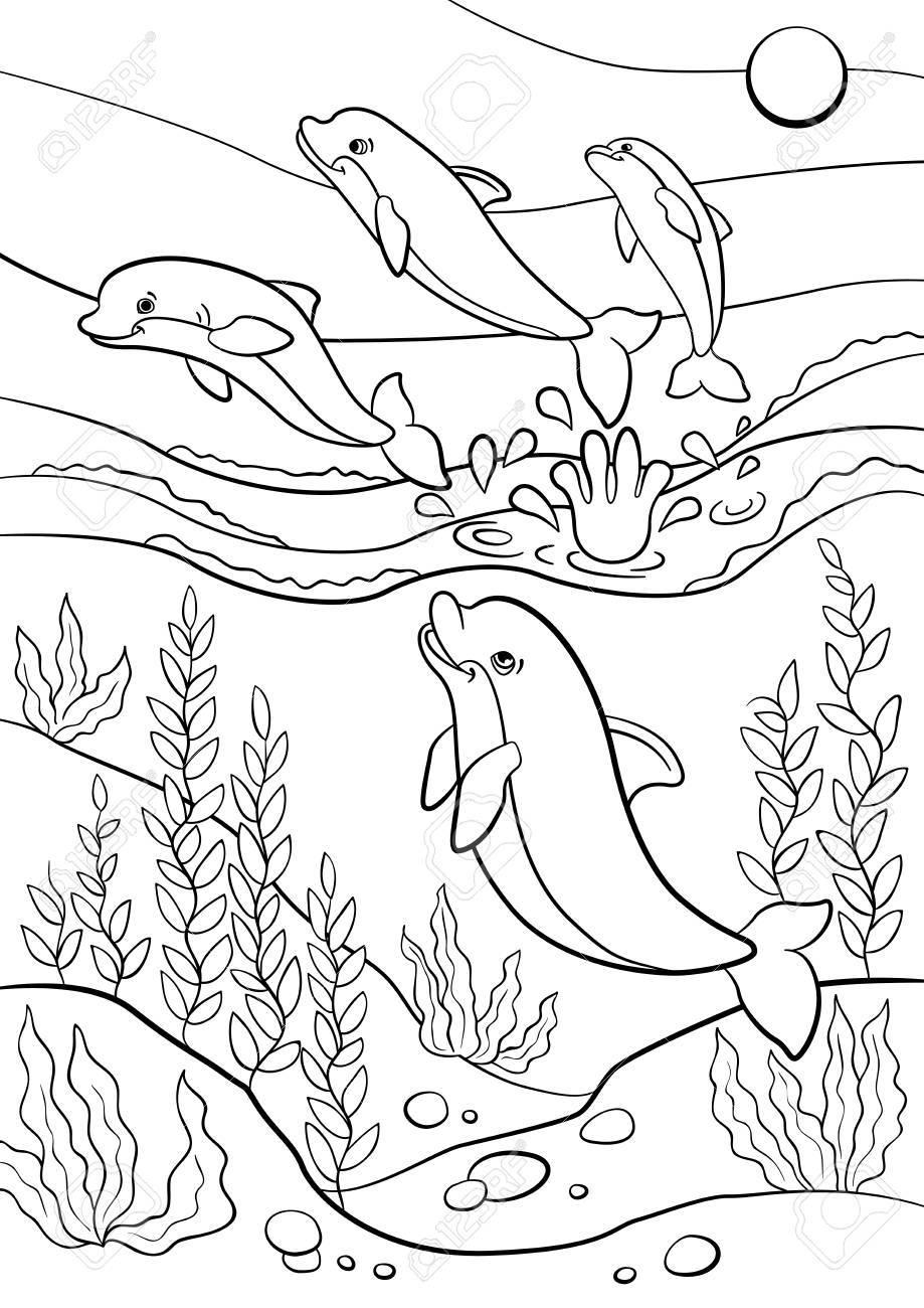 Páginas Para Colorear Animales Salvajes Marinos Delfines Lindo Salta Del Agua Y Sonríe