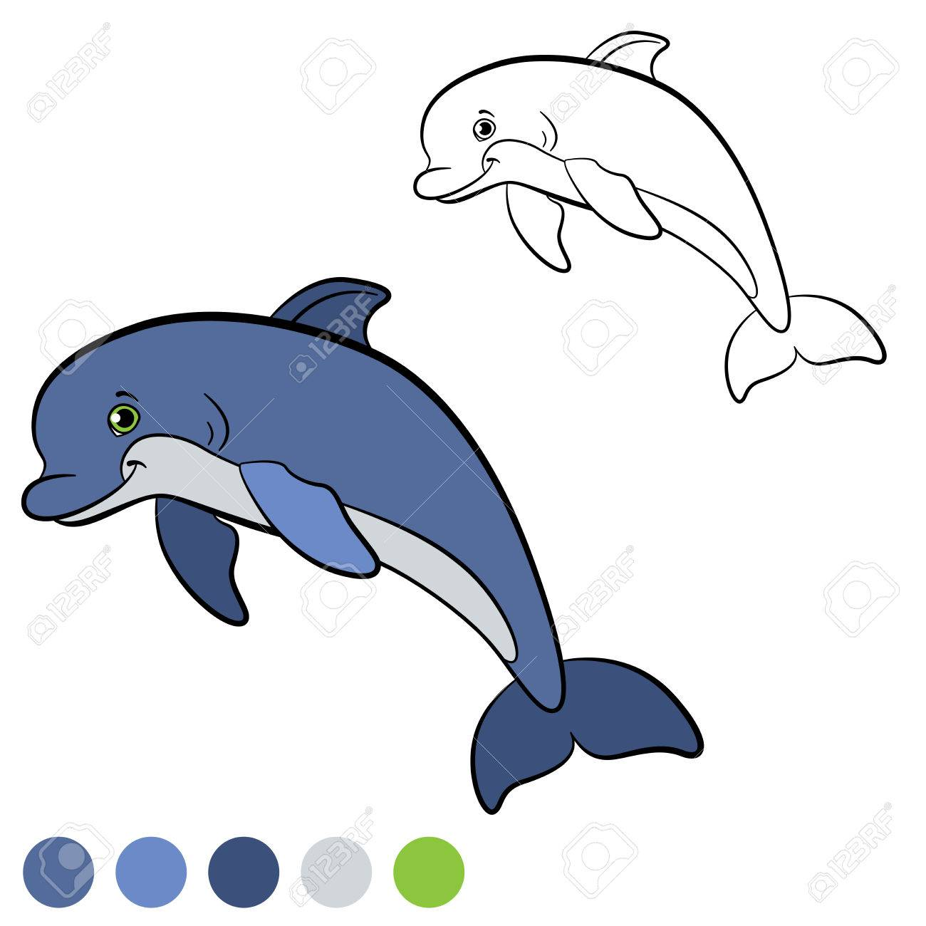 Malvorlage. Color Me: Delphin. Kleine Süße Delphin Springt Und ...