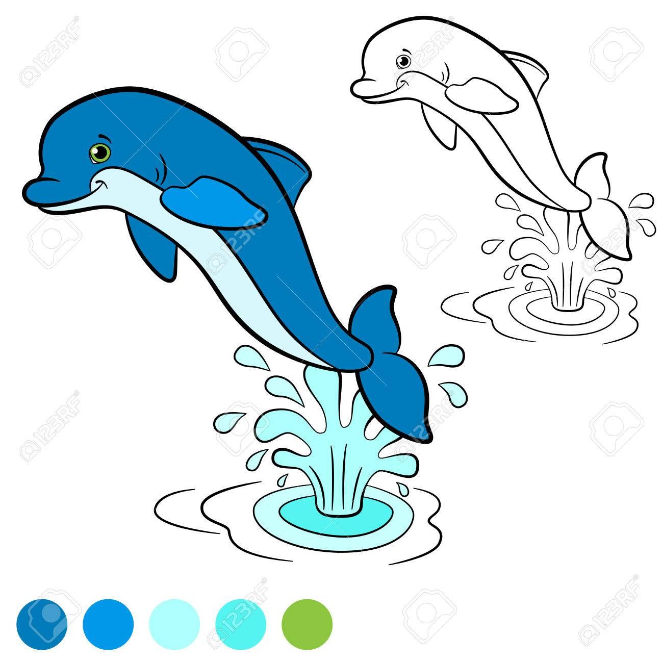 Dibujo Para Colorear Color Me Delfín El Pequeño Delfín Lindo Salta Fuera Del Agua Con El Chapoteo él Es Feliz