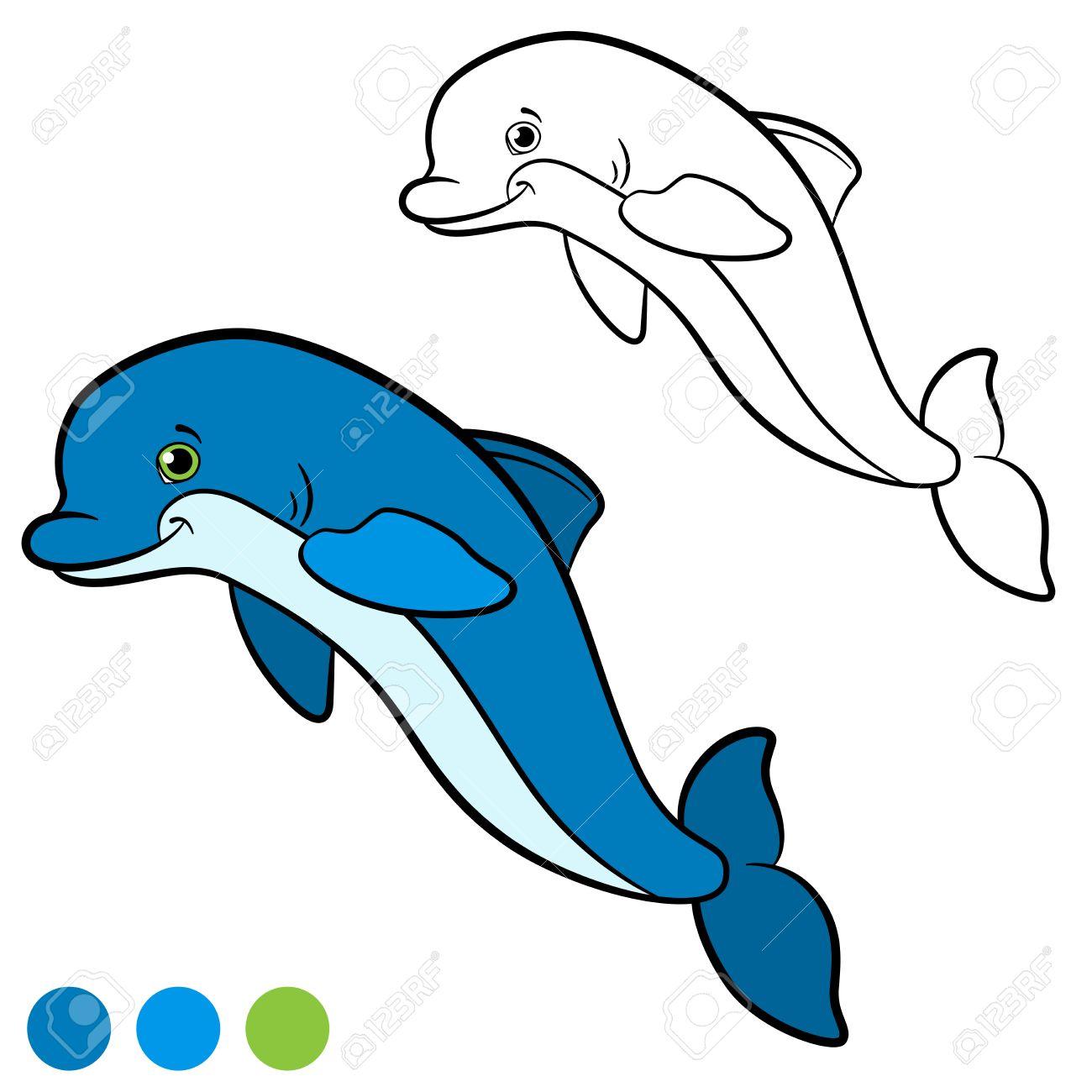 Dibujo Para Colorear. Color Me Delfín. Poco Saltos De Delfines Lindo ...