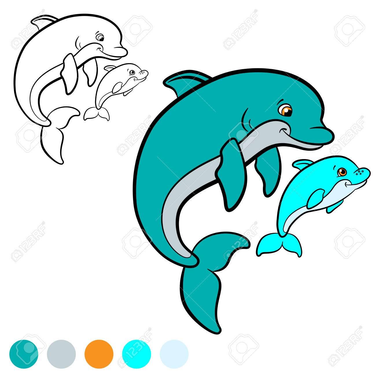 Malvorlage. Färbe Mich: Delphin. Mutter Delphin Schwimmt Mit Ihrem ...