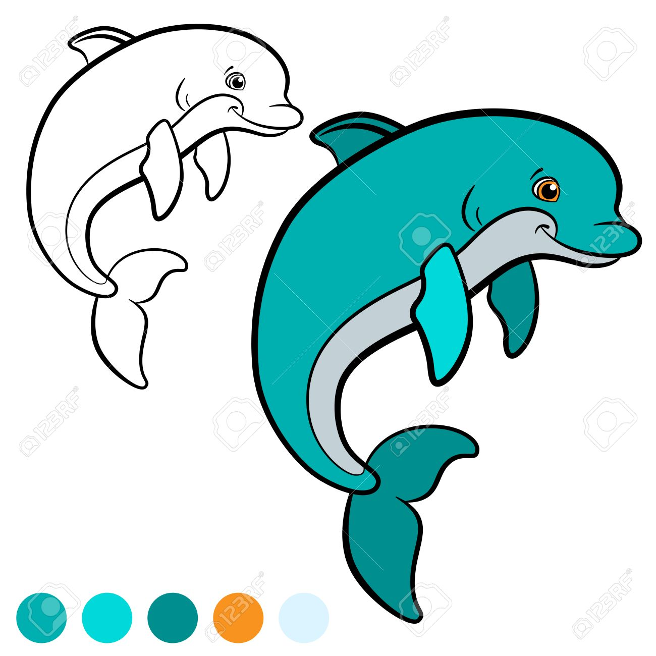 Hermosa Página Para Colorear De Delfines Bosquejo - Dibujos Para ...