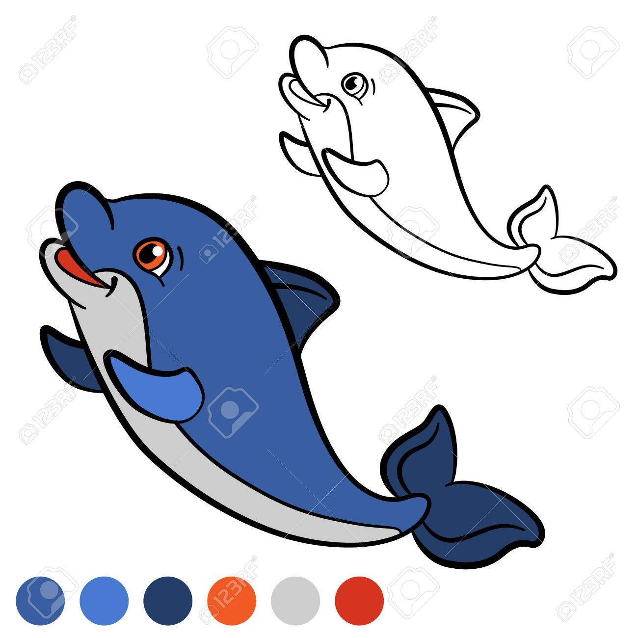 Coloring Page. Color Me: Dolphin. Little Cute Baby Dolphin Swims ...