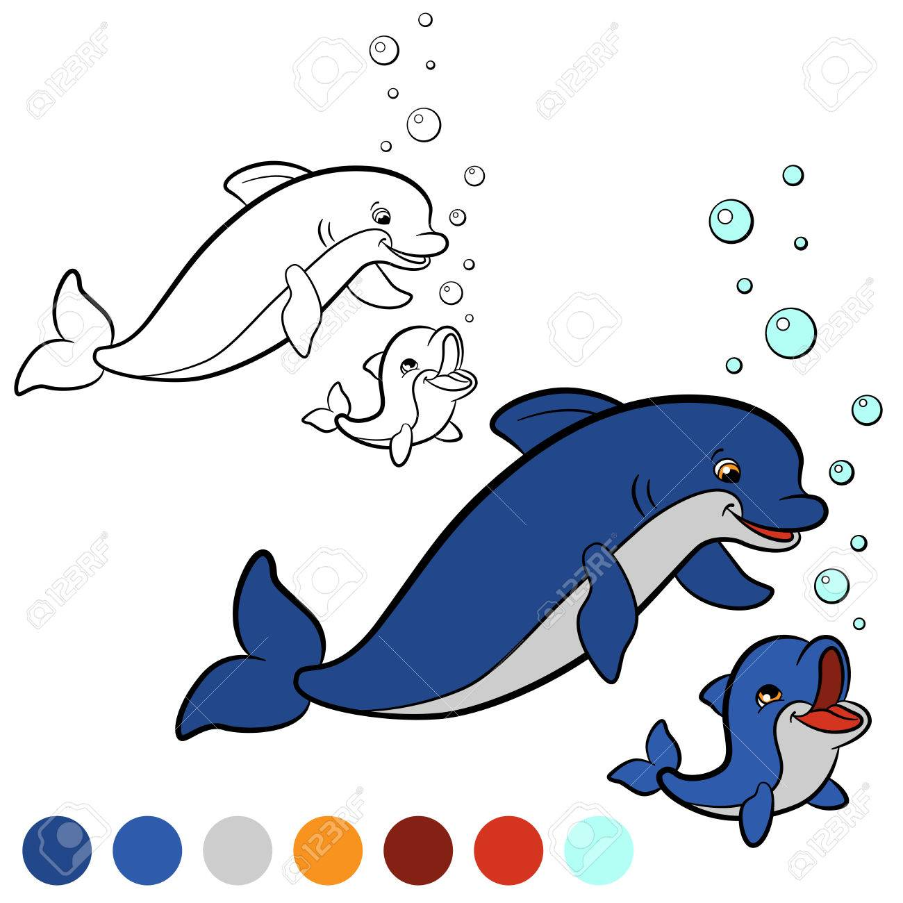Coloring Page Color Me Dolphin Mother Swims With Her Little Cute Baby