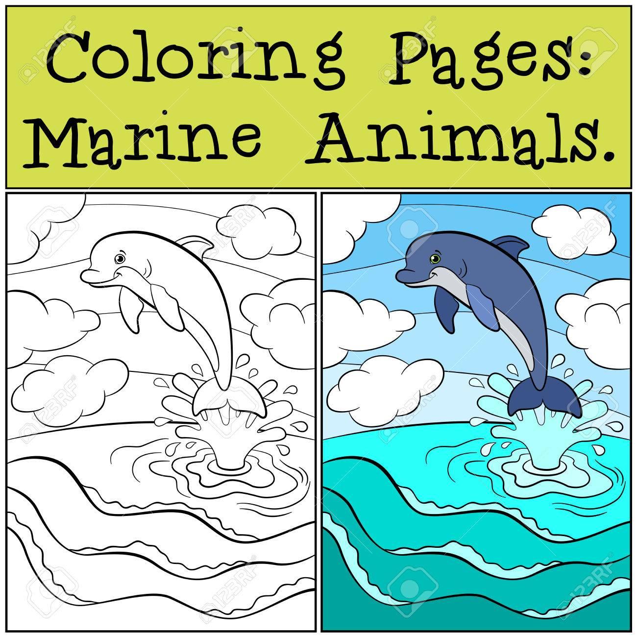 Vettoriale Disegni Da Colorare Animali Marini Piccolo Delfino