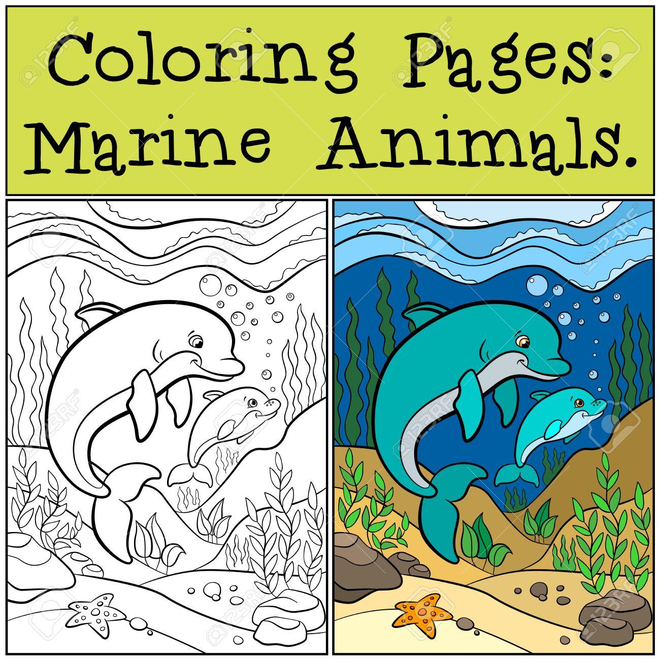 Páginas Para Colorear: Animales Marinos. Madre De Delfines Nadando ...