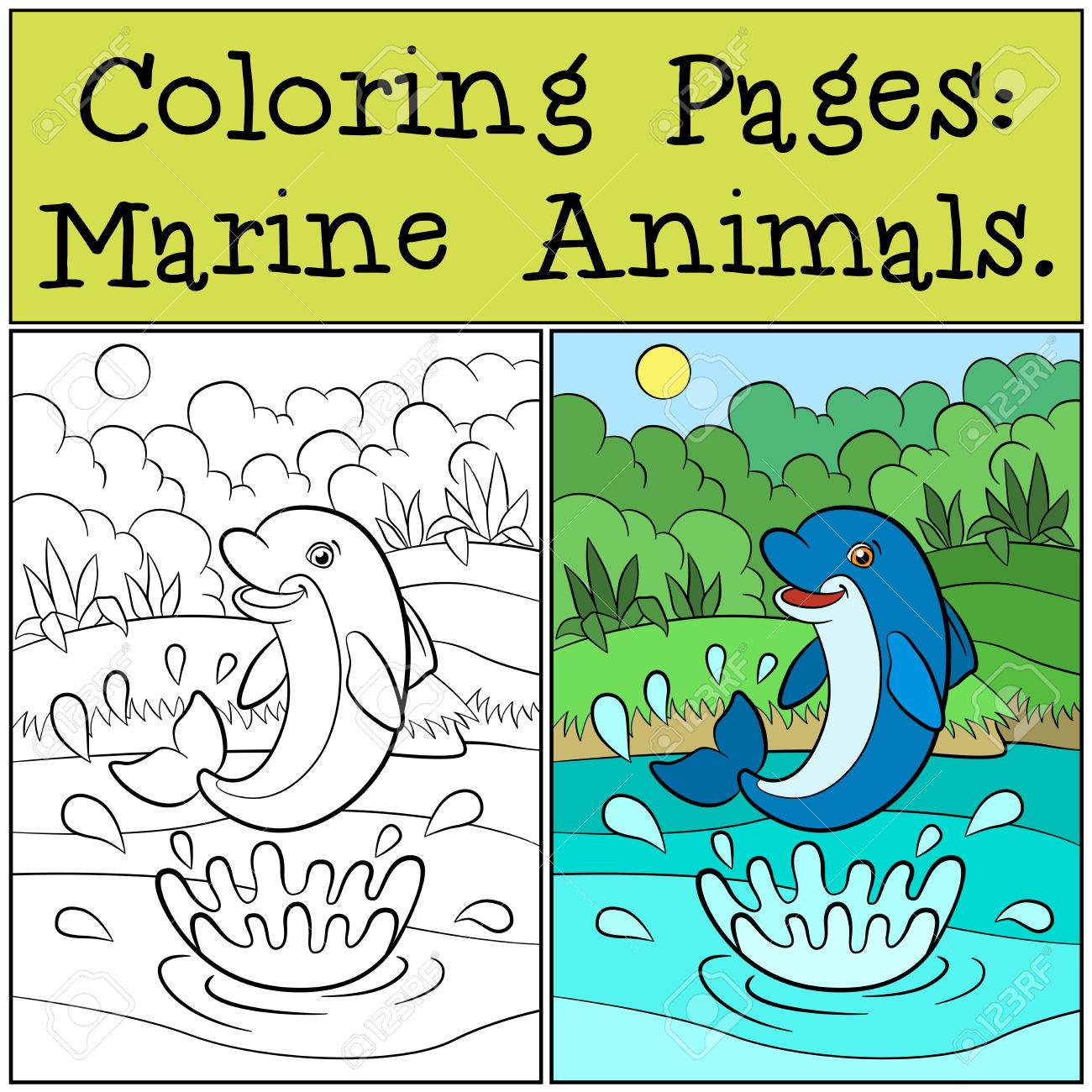 Coloring Pages: Marine Animals. Little Cute Dolphin Jumps Out ...