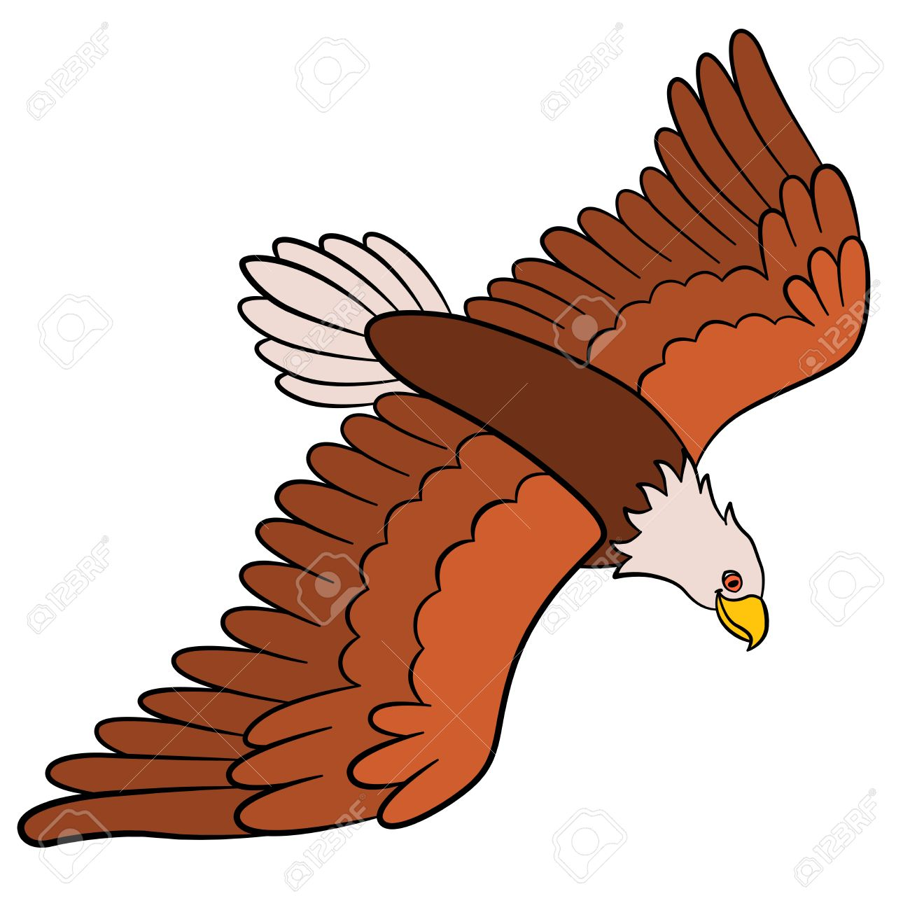 Wonderful Cartoon Birds For Kids: Eagle. Cute Bald Eagle Flies And Smiles. Stock  Vector