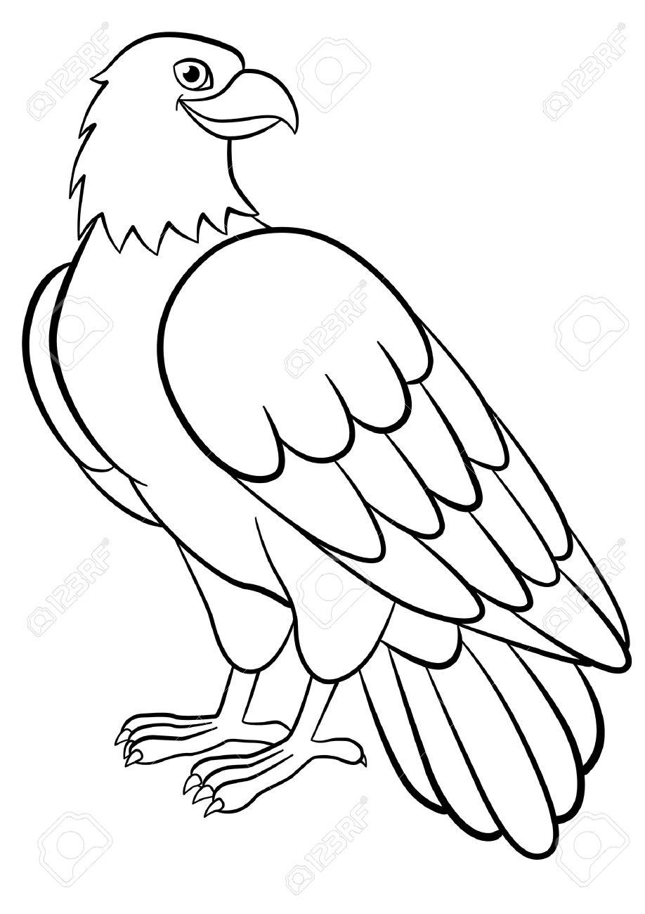 Malvorlagen. Wilde Vögel. Netter Adler Sitzt Und Lächelt. Lizenzfrei ...