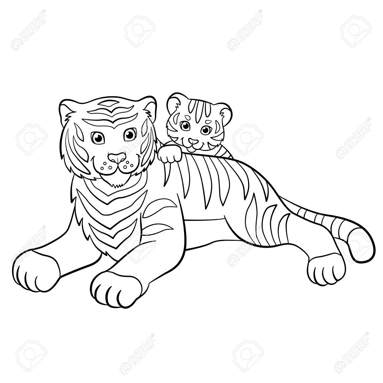 Coloring pages wild animals smiling mother tiger with her little cute baby tiger