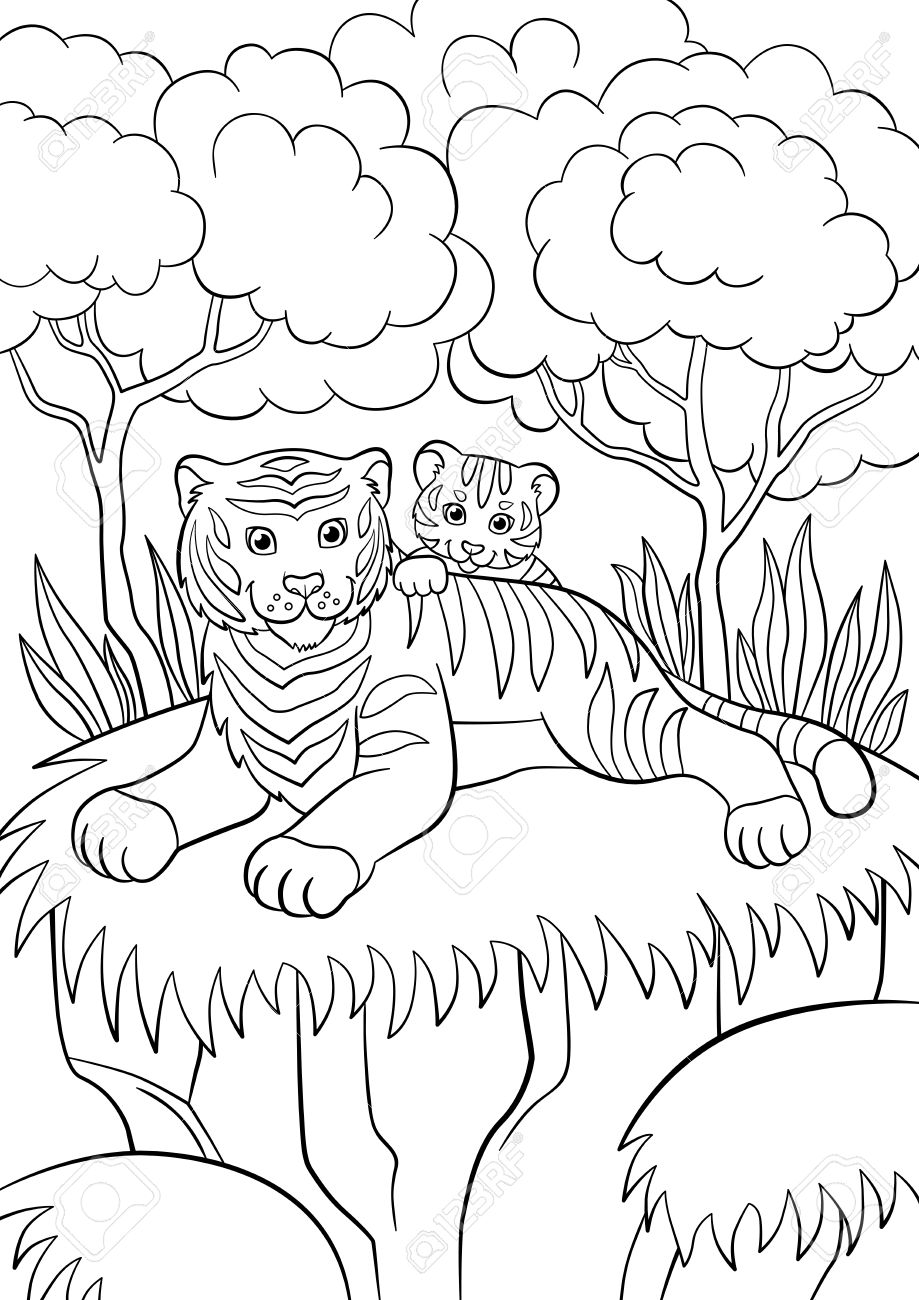 Coloring Pages. Wild Animals. Smiling Mother Tiger With Her Little ...