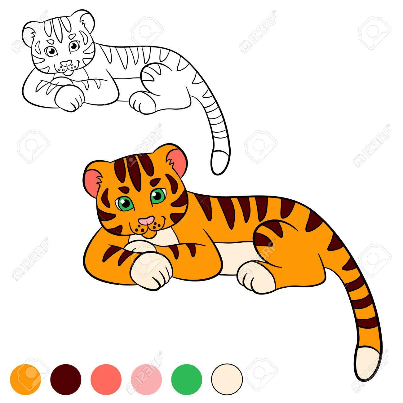 Malvorlage. Color Me: Tiger. Kleine Süße Baby-Tiger Legt Und Lächelt ...