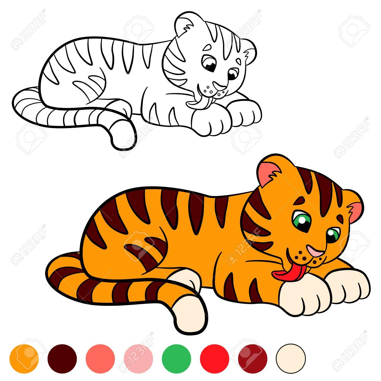 Dibujo Para Colorear Color Me Tigre Pequeno Tigre Lindo Del Bebe