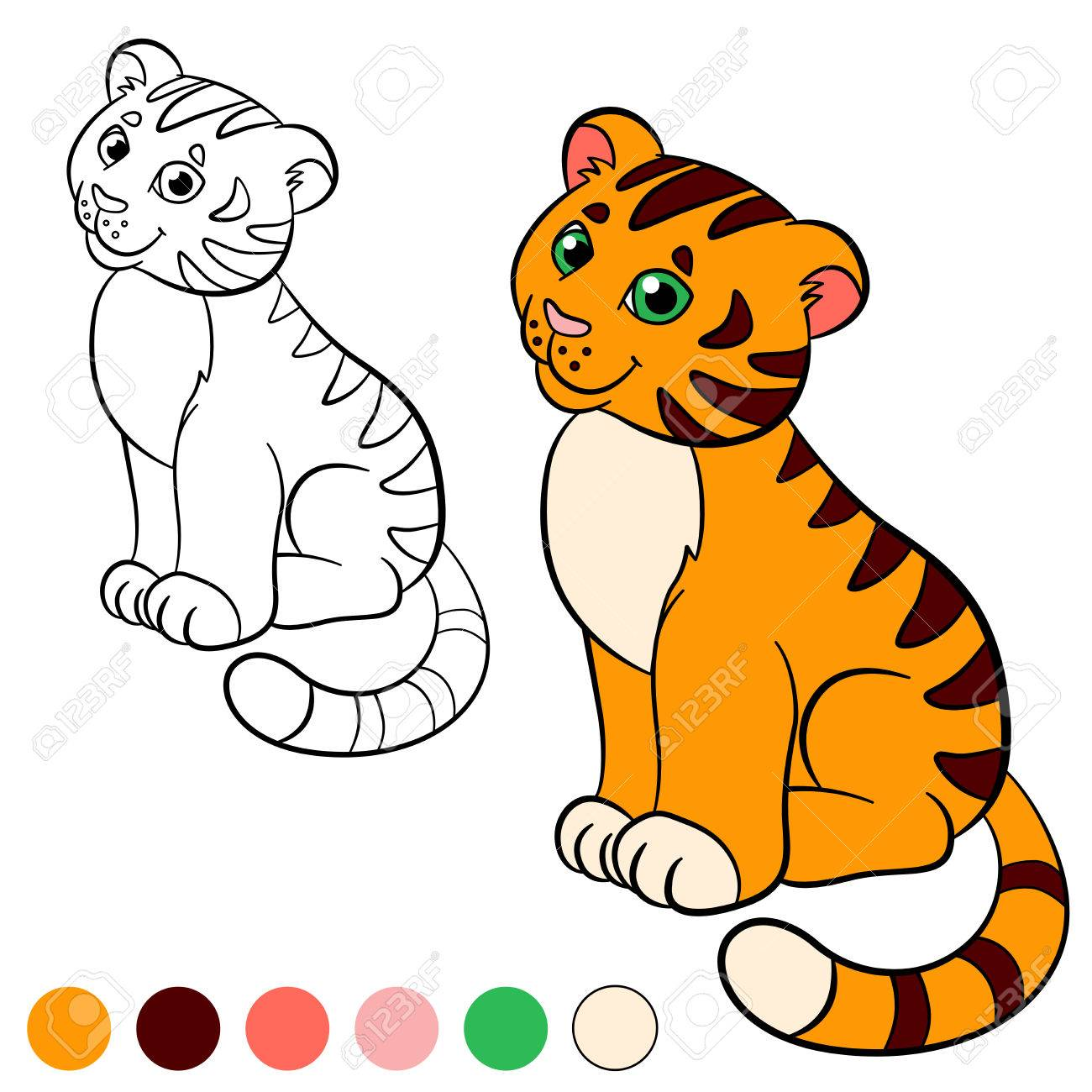 Coloring Page Color Me Tiger Little Cute Baby Sits And Smiles