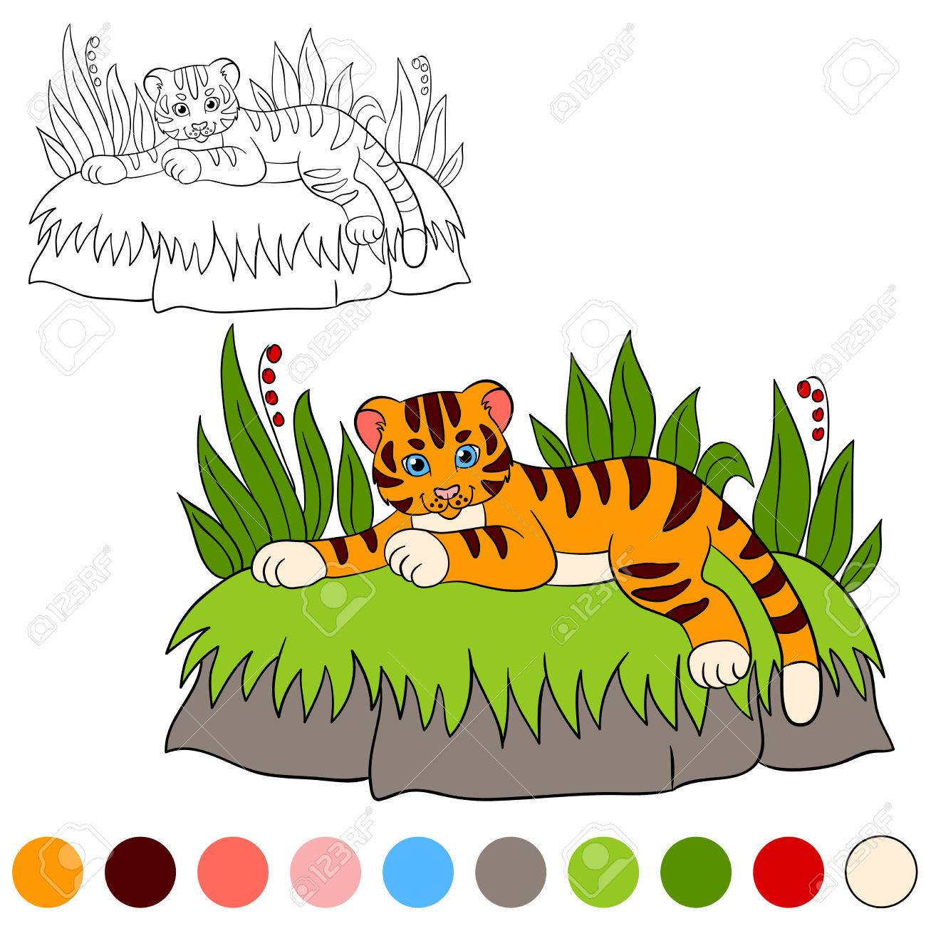 Coloring Page. Color Me: Tiger. Little Cute Baby Tiger Lays And ...