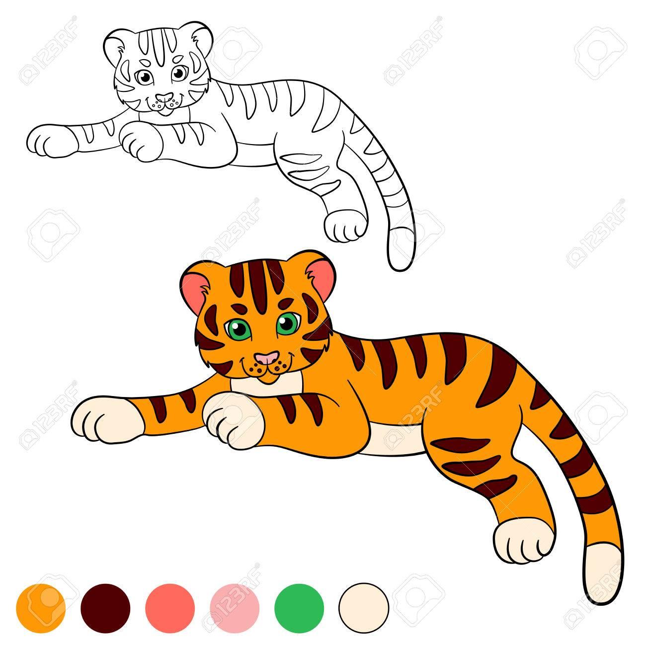 Dibujo Para Colorear. Color Me Tigre. Pequeño Tigre De Bebé Lindo ...