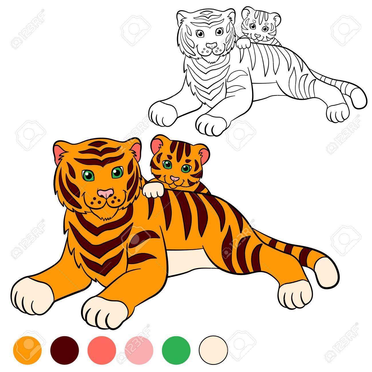 Dibujo Para Colorear. Color Me Tigre. Tigre Madre Establece Con Su ...