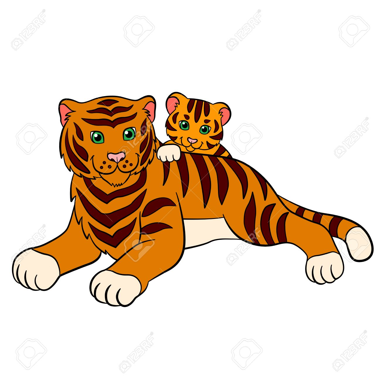 cartoon wild animals for kids tiger mother tiger lays with