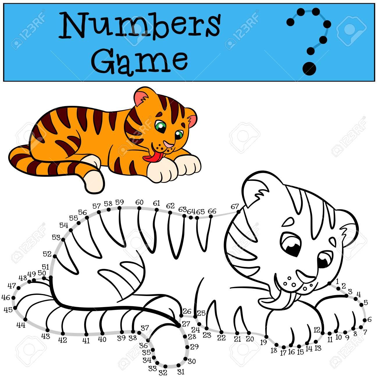 Lernspiele Für Kinder: Zahlen-Spiel Mit Kontur. Kleiner Netter Tiger ...