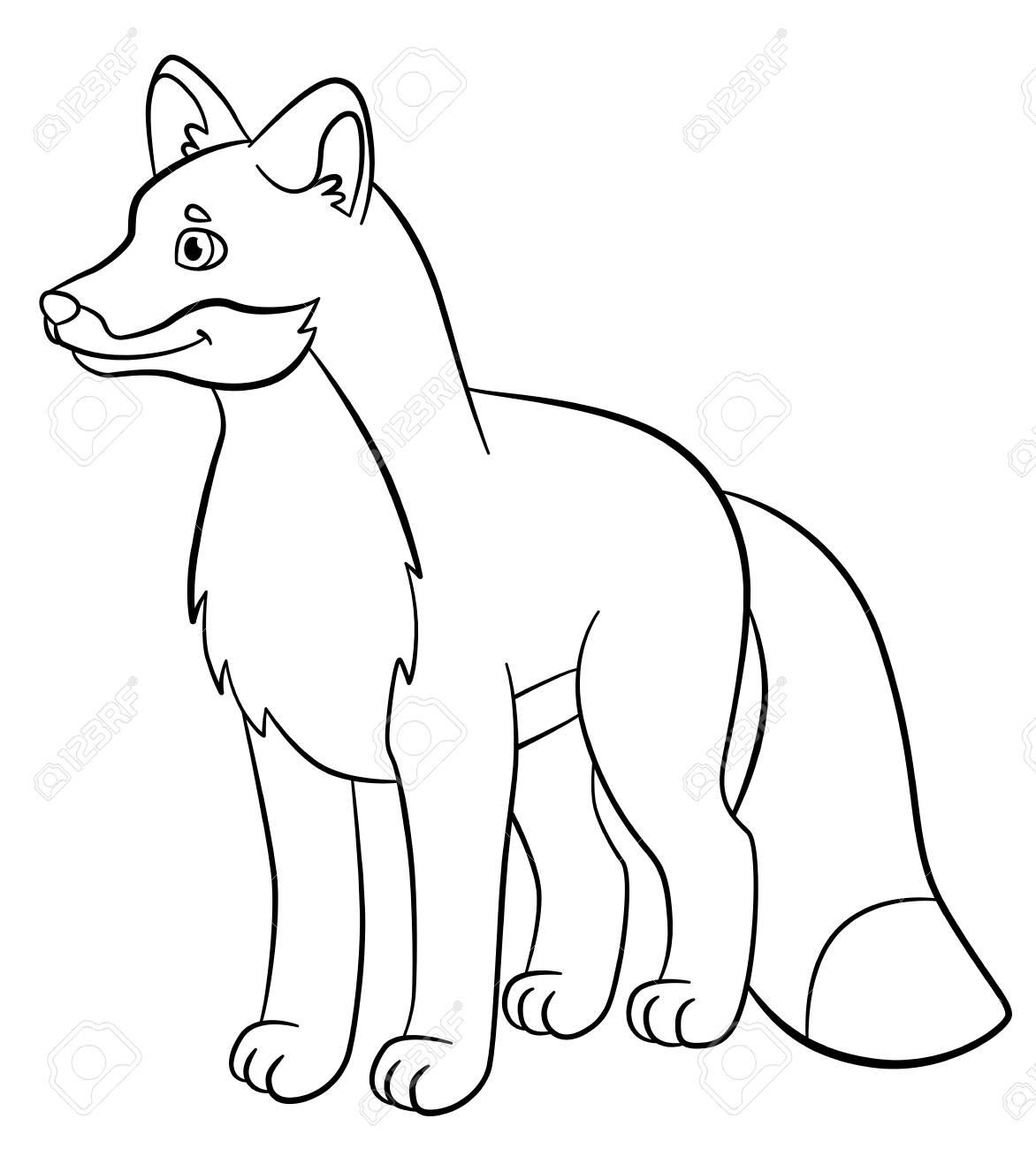Malvorlagen. Wilde Tiere. Kleiner Netter Fuchs Steht Und Lächelt ...