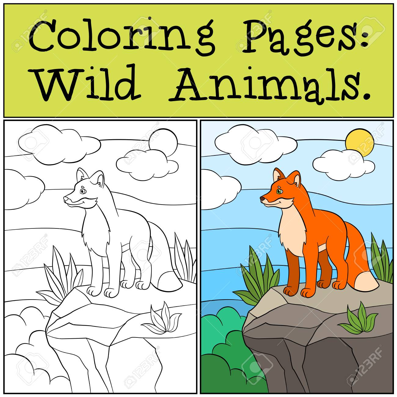 Páginas Para Colorear: Animales Salvajes. Pequeño Zorro Lindo Se ...