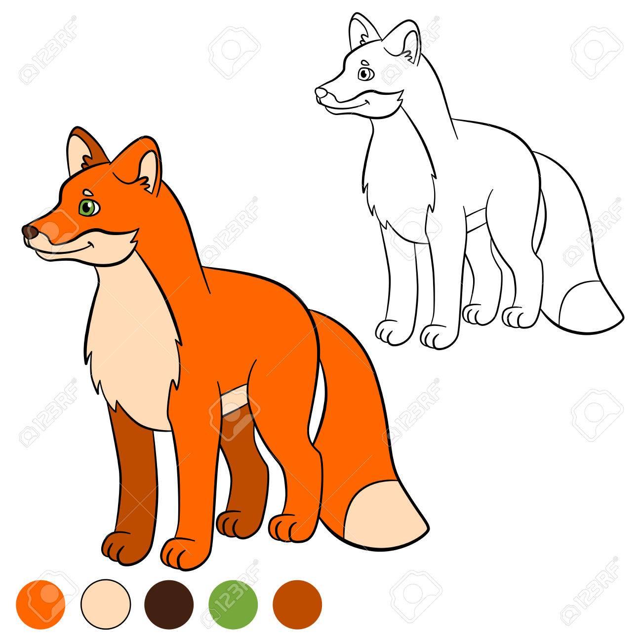 Malvorlage. Color Me: Fuchs. Kleiner Netter Fuchs Steht Und Lächelt ...