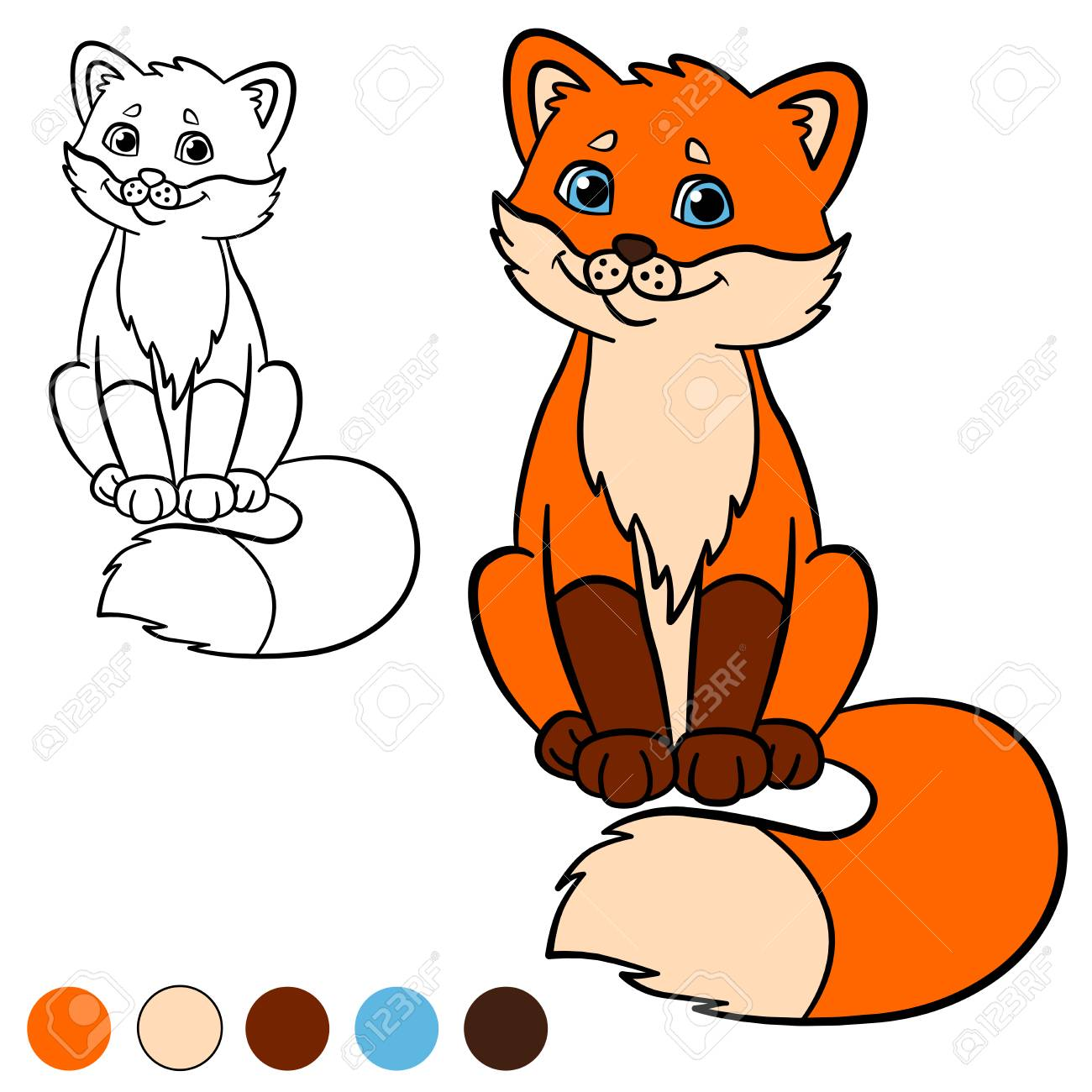 Malvorlage Color Me Fuchs Kleine Süße Baby Fuchs Sitzt Und
