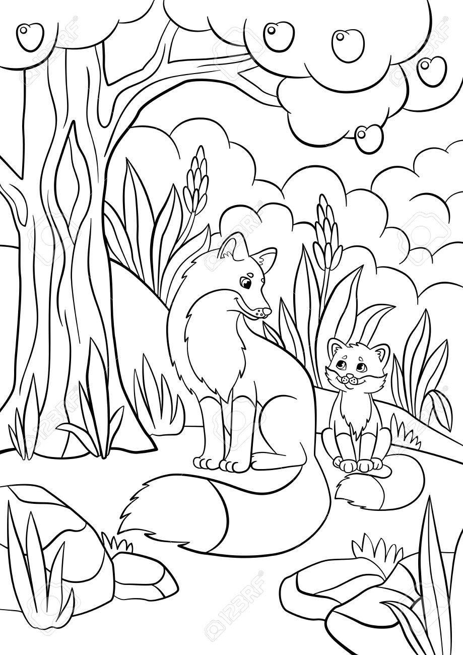 Páginas Para Colorear. Animales Salvajes. Fox Madre Con Su Bebé ...