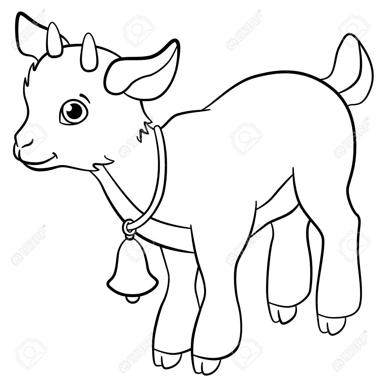 Coloring Pages. Farm Animals. Little Cute Goatling Smiles. Royalty ...