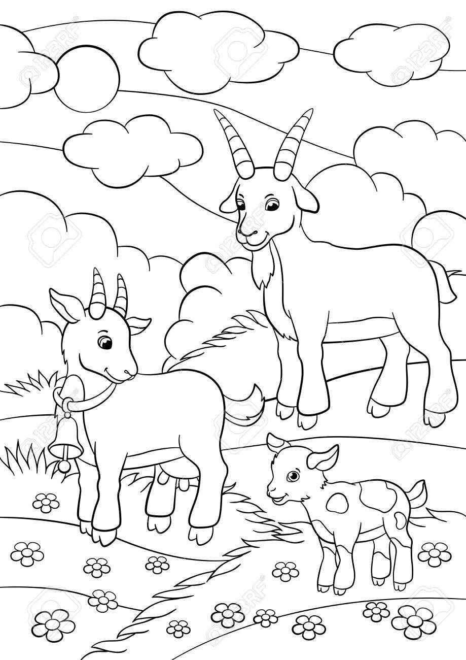 Páginas Para Colorear. Animales De Granja. Familia De La Cabra En El ...