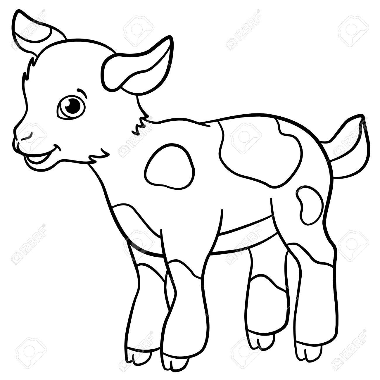 Coloring Pages Farm Animals Little Cute Spotted Goatling Stands