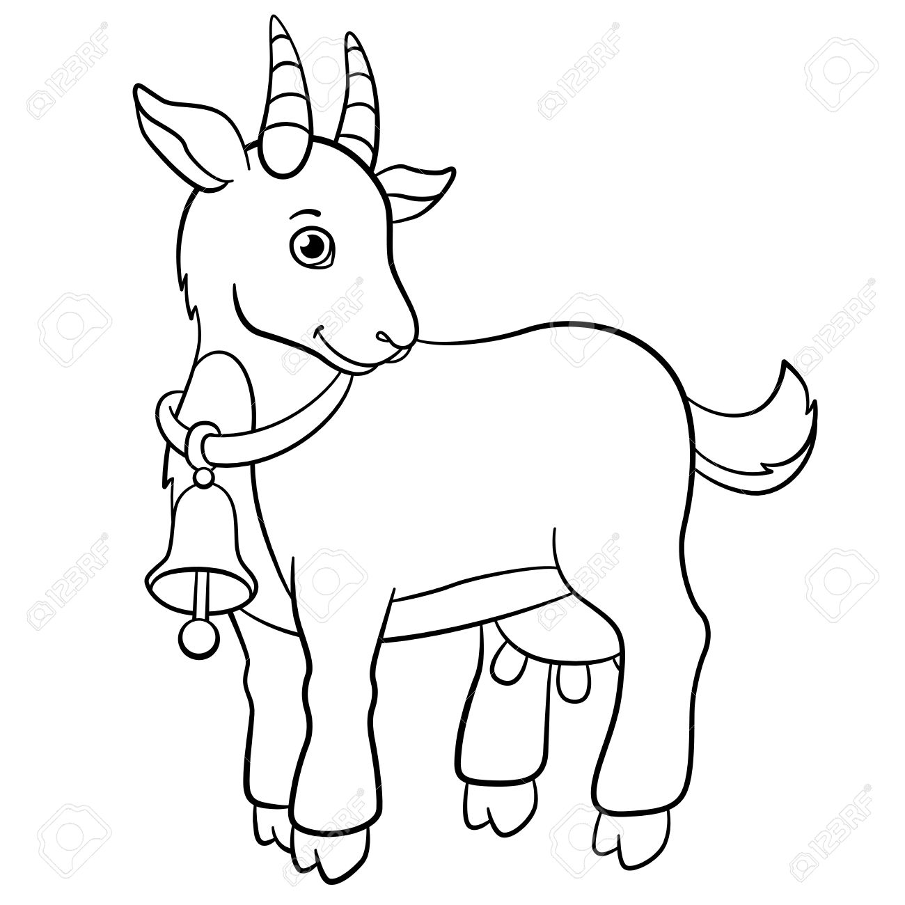 coloring pages farm animals little cute goat stands and smiles