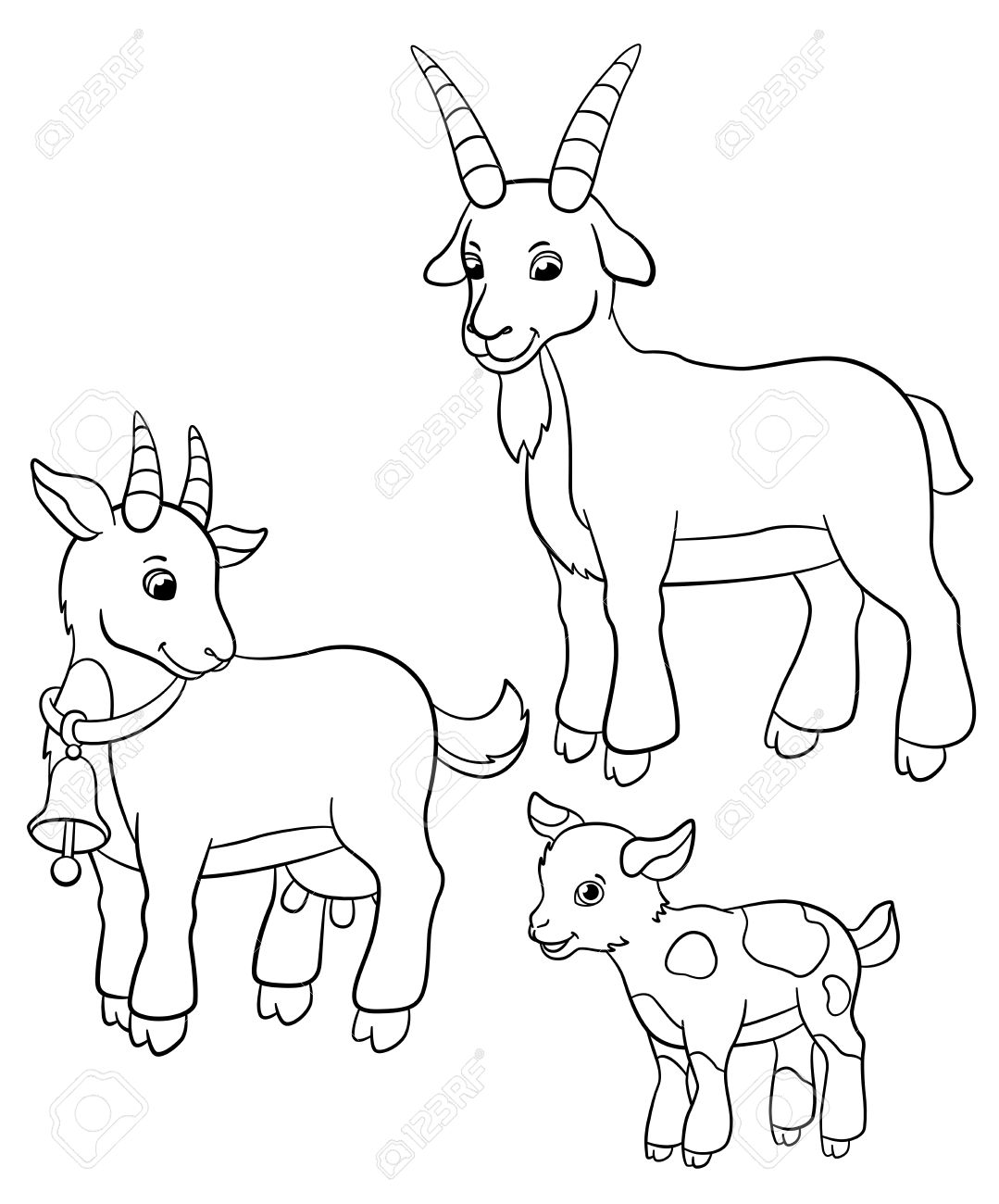 Coloring Pages. Farm Animals. Goat Family Stands And Smiles. Royalty ...