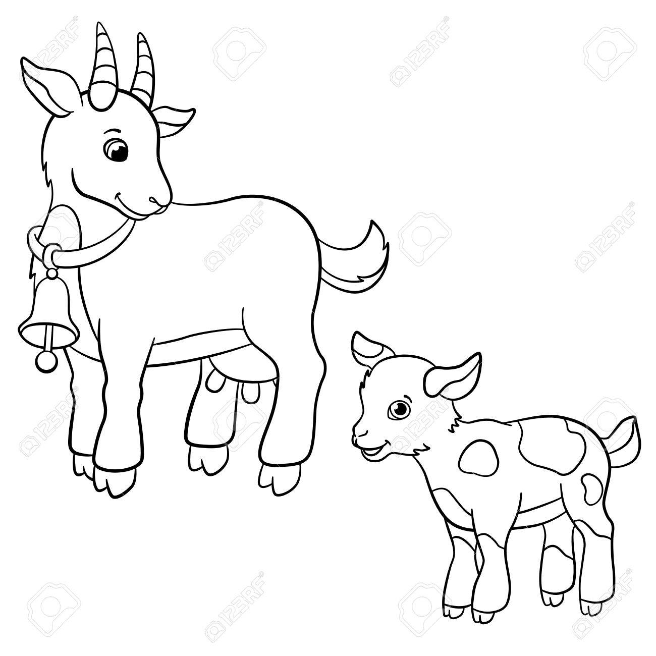 Coloring Pages. Farm Animals. Cute Mother Goat Looks At The Little ...