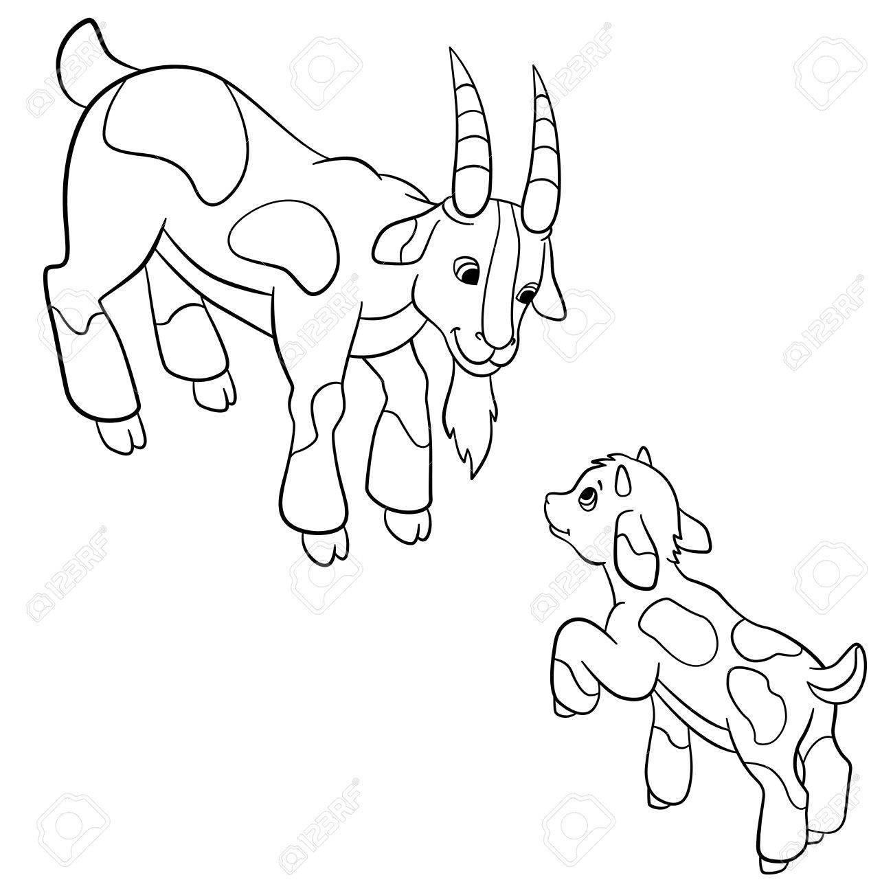 Páginas Para Colorear. Animales De Granja. Padre De Cabra Mira A Su ...