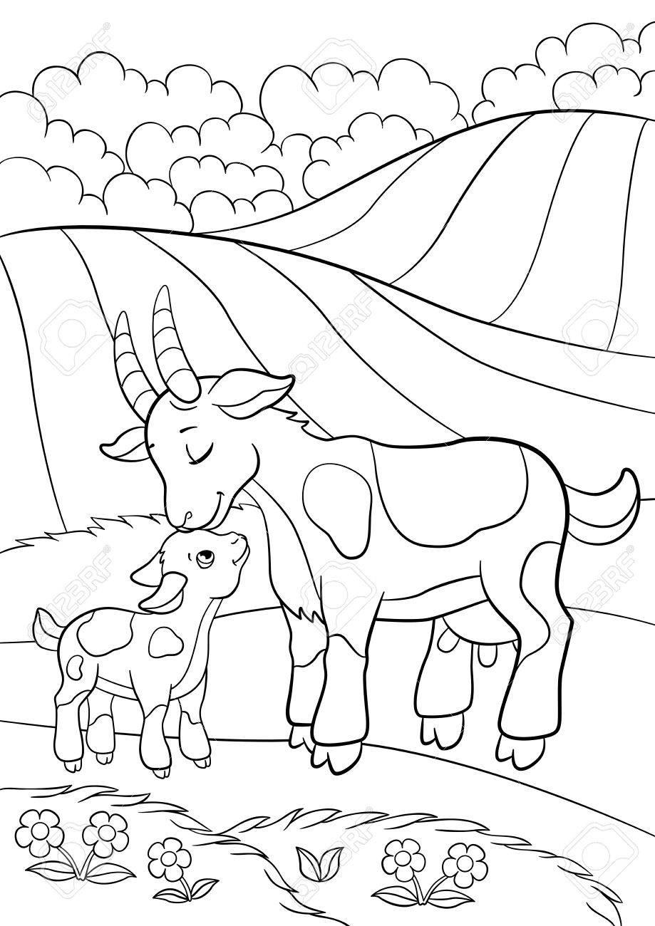 Pages De Coloriages Animaux De La Ferme Mère Chèvre Avec Sa Petite