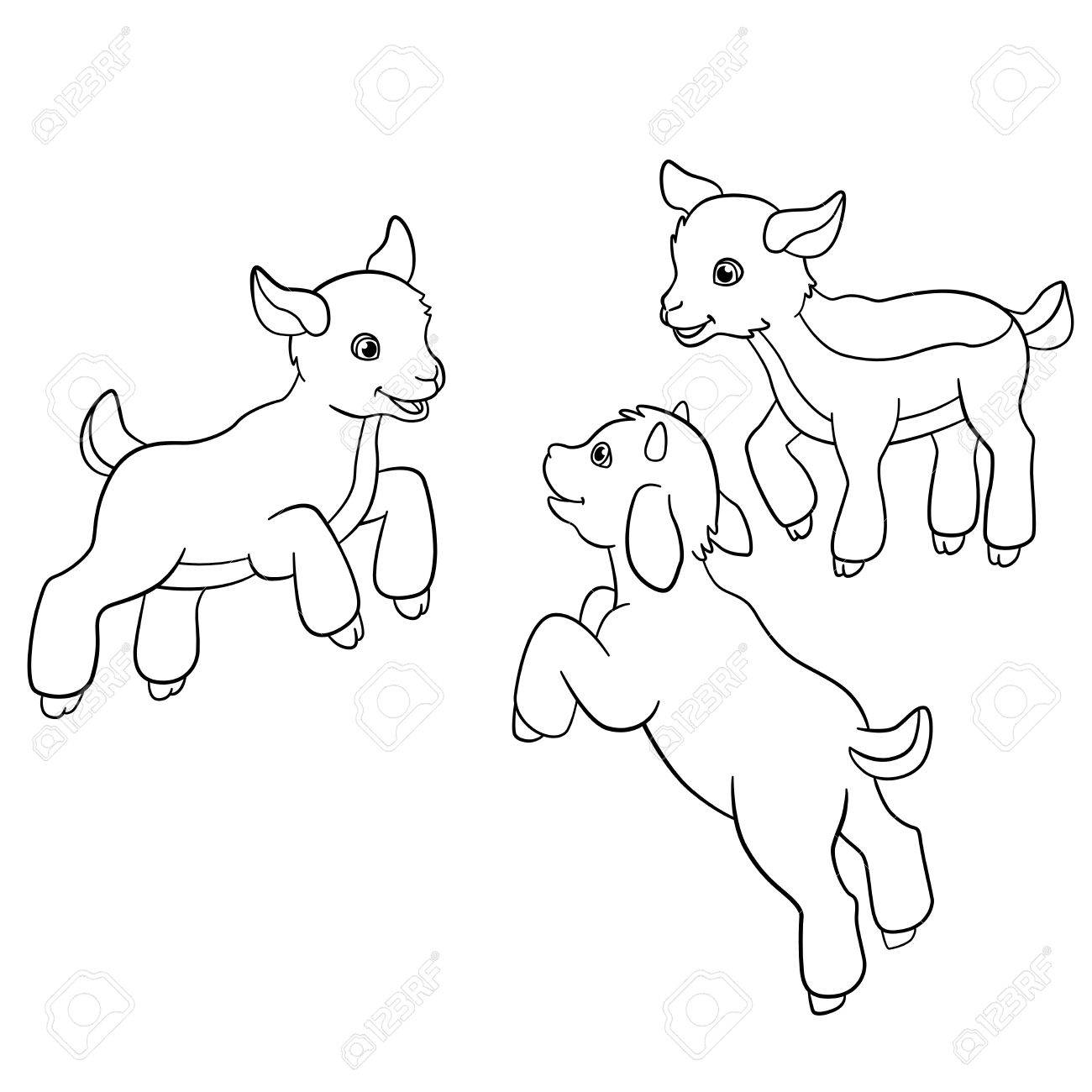 Coloring Pages. Farm Animals. Three Little Cute Doatlings. Royalty ...