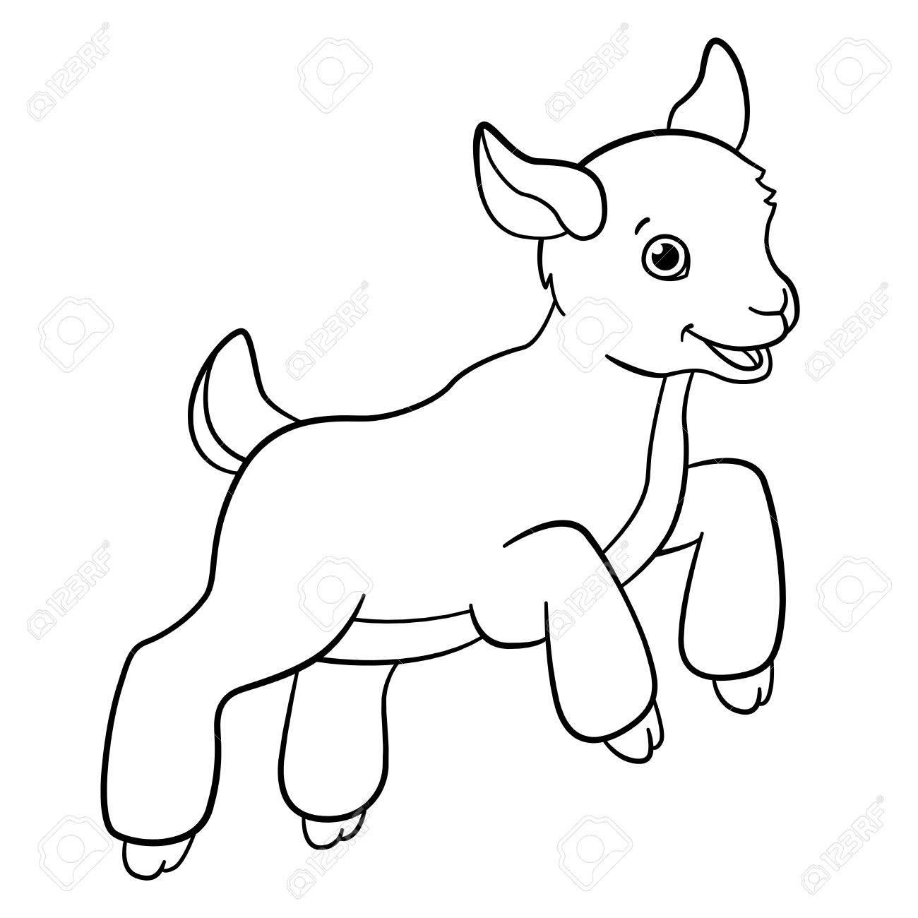 Malvorlagen. Nutztiere. Kleine Nette Goatling Springt Und Lächelt ...