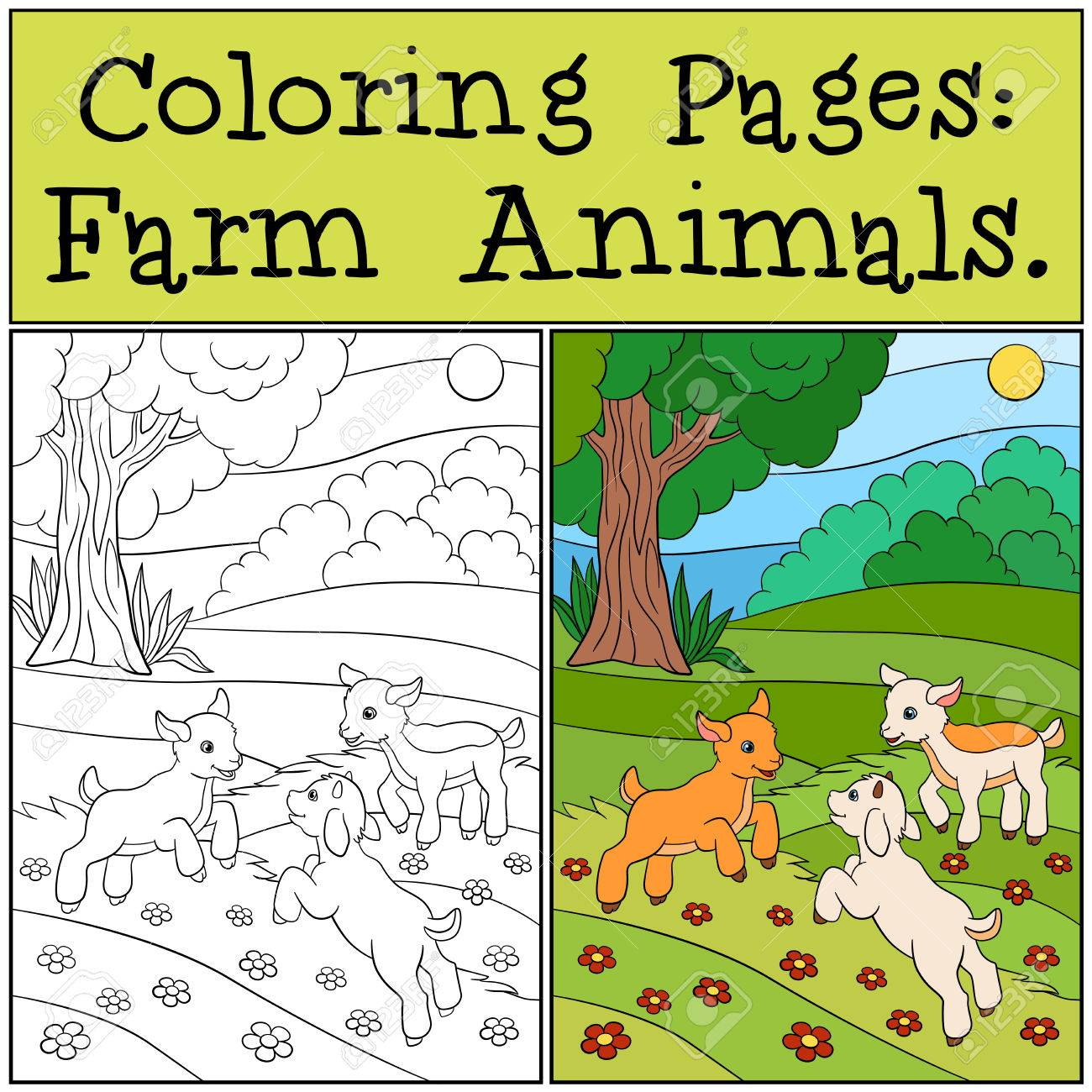 Coloring Pages: Farm Animals. Three Little Cute Baby Goats Play ...