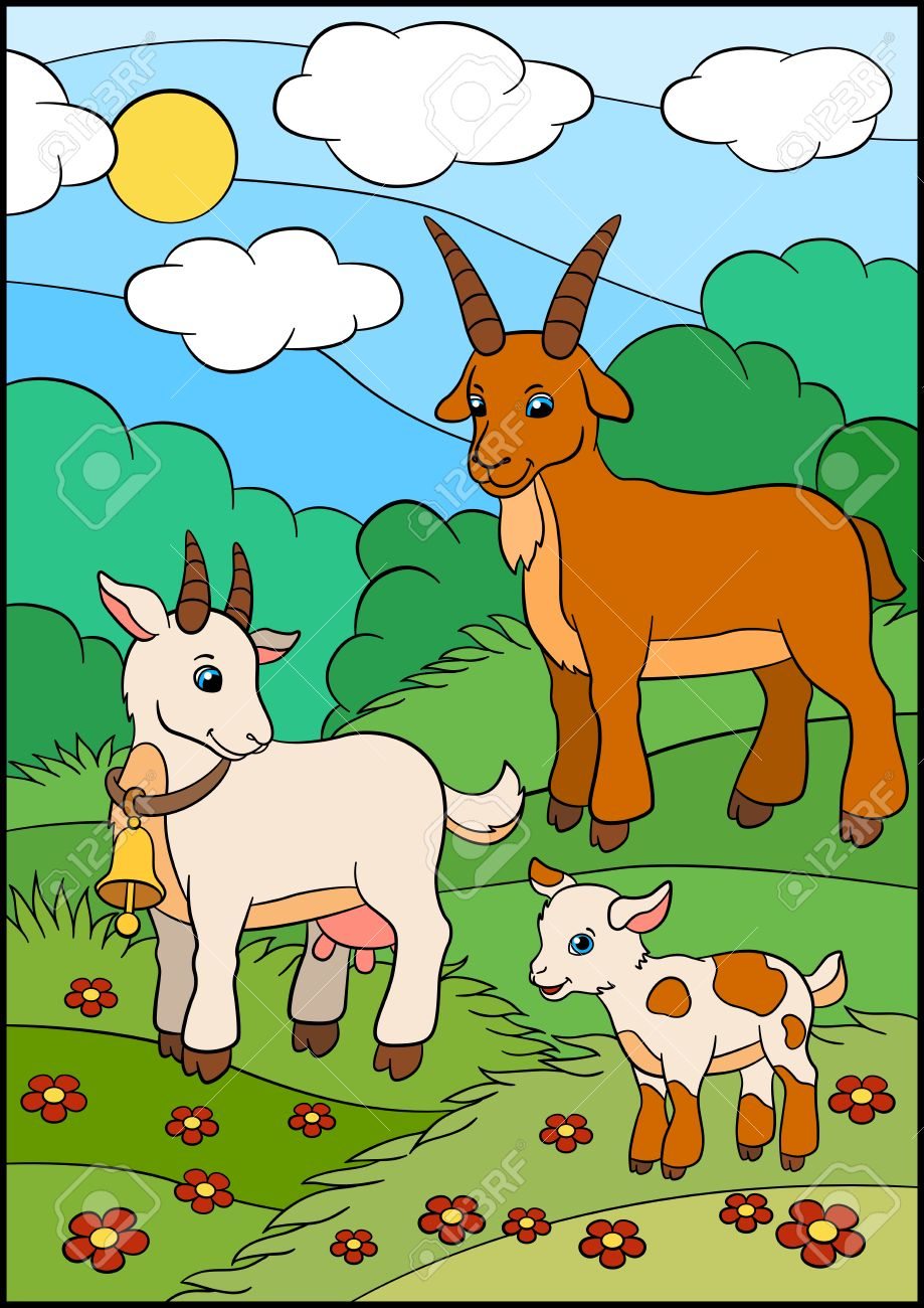 cartoon farm animals for kids goat family in the field royalty
