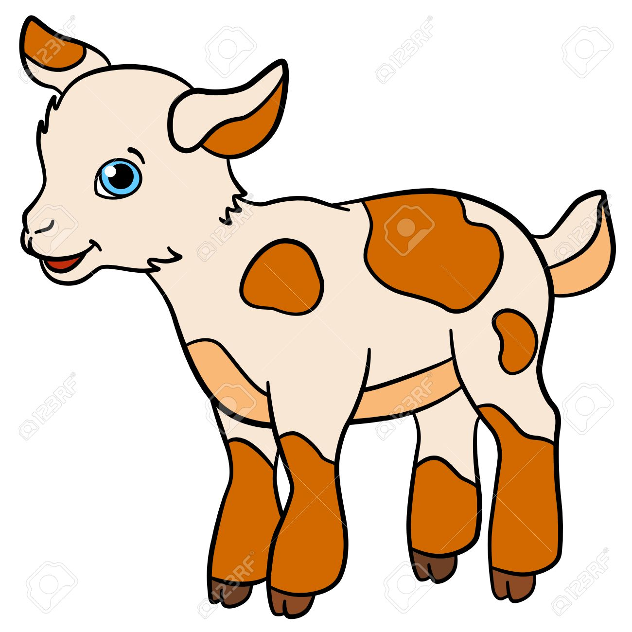 cartoon farm animals for kids little cute spotted baby goat