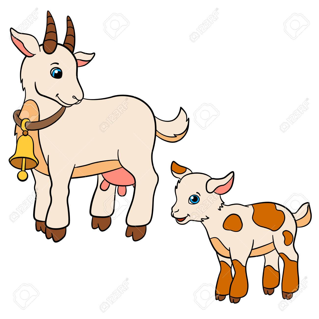 cartoon farm animals for kids mother goat looks at her baby